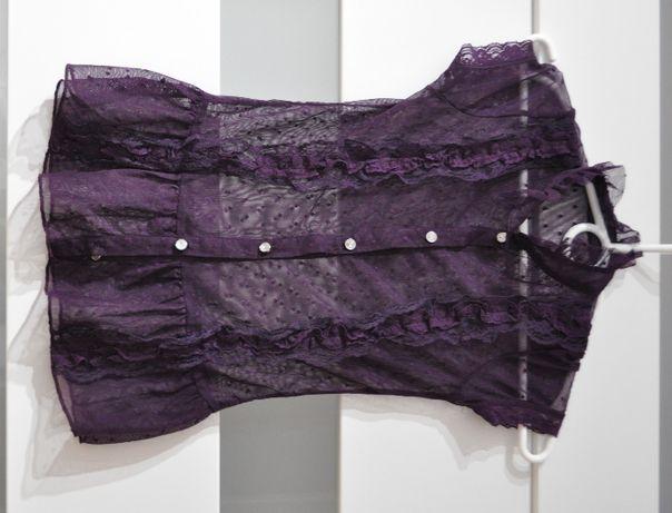 Piękna elegancka koszulka 134/140, fioletowa, z koronką, transparentna