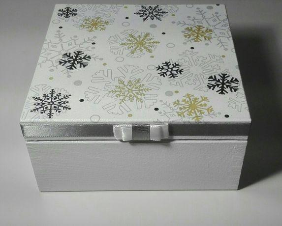 Pudełko, szkatułka, gwiazdki, święta, na prezent, decoupage,rękodzieło
