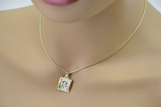 Złoty medalik Bozia z łańcuszkiem linką pm001yw&cc080y B