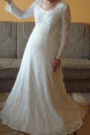 Suknia ślubna w stylu boho koronka roz 38