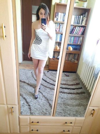 Sukienka elegancko-koktajlowa biała letnia S/M