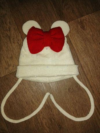 Шапка для девочки Минни Микки маус с ушками, молочного цвета, до года