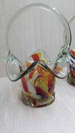Советская конфетница ваза корзина корзинка. Цветное стекло. Винтаж