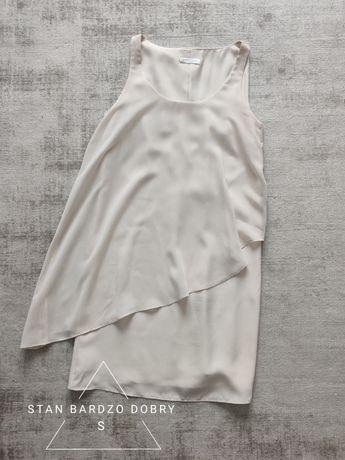 Elegancka sukienka krótka mini obcisła falbanka ecru Promod 36