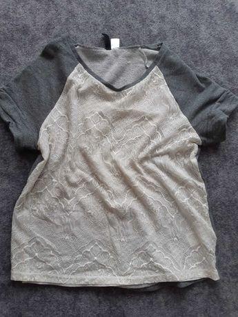 Bluzka łączona koronka melanż krem reserved L XL