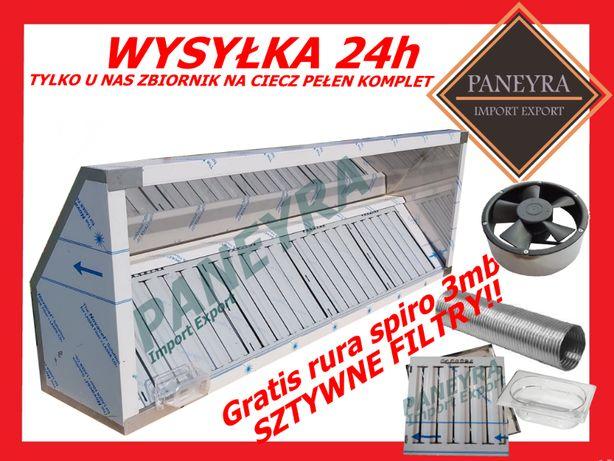 Promocja ! Okap Gastronomiczny 150x70x40 Filtry Wentylator + ZBIORNIK