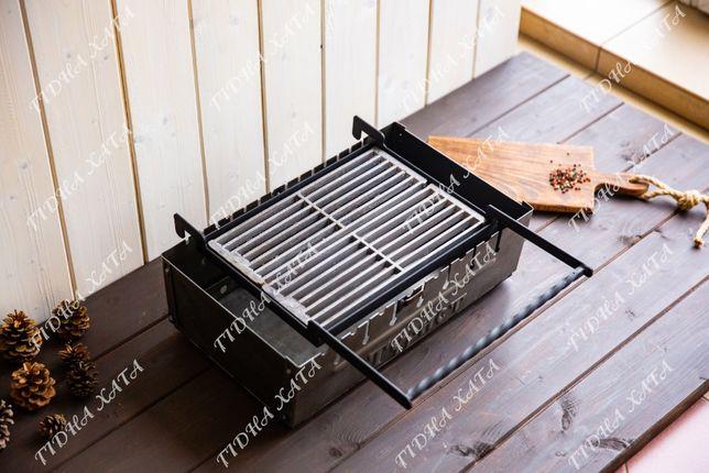 Чугунная решетка гриль-барбекю с рамкой на мангал.
