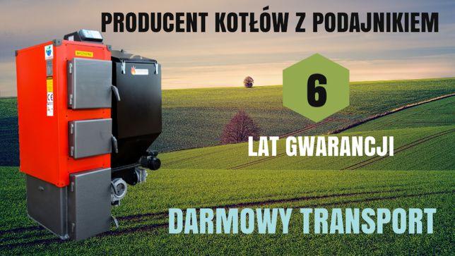 KOTLY 50 kW do 450 m2 Kocioł z PODAJNIKIEM na EKOGROSZEK Piec 47 48 49