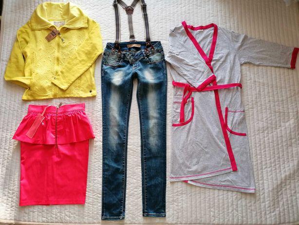 Zestaw ubrań Nowe i jak nowe dżinsy szlafrok spódnica bluza r. 160