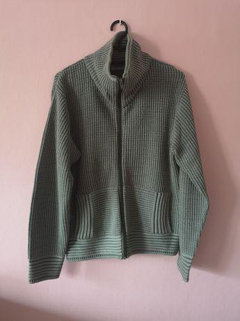 Rozpinany sweter, butelkowa zieleń rozm. 40