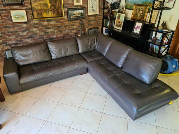 Kanapa rogowa skóra, sofa rogówka skórzana pikowana 280x280 cm