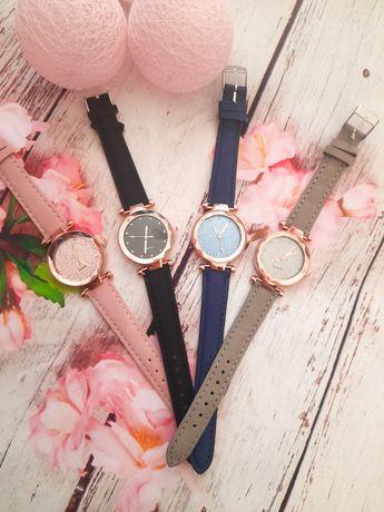 Zegarek damski cyrkonie brokatowa tarcza