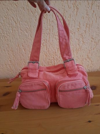 Różowa materiałowa torebka