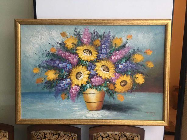 Quadro vaso de flores   Antiguidades