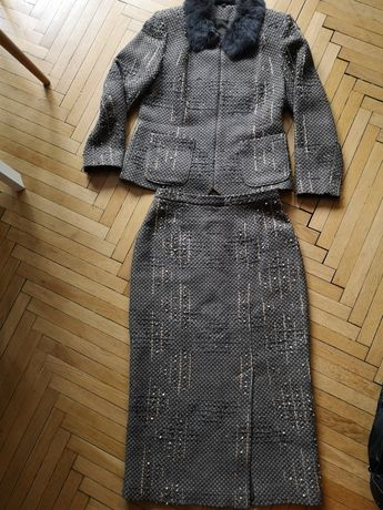 Vintage Spódnica, żakiet komplet MODA I STYL r. M/L