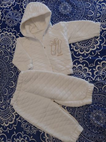 Biały komplecik dla dziewczynki r.68 chrzest