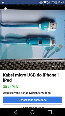 Kabel micro USB do iPhone i iPad