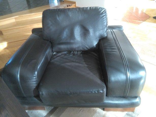 Duży elegancki fotel ekoskóra czarny renowacja + sofa