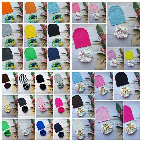 Детский трикотажный набор шапка + снуд, шарфы