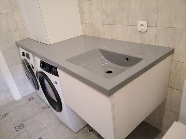 Столешница из искусственного камня для ванной над стиралкой