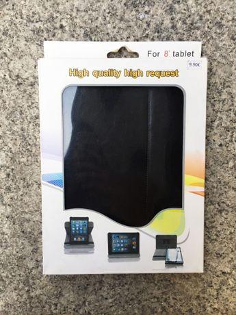 """Capa Universal para Tablet de 8"""" - Preto - Pele sintética - NOVO"""