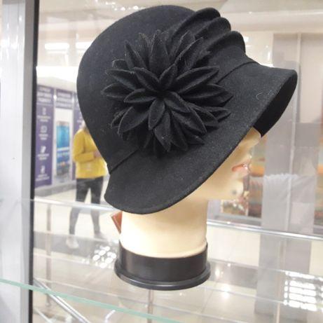 АКЦИЯ !!! Великолепная настоящая фетровая черная шляпа качество