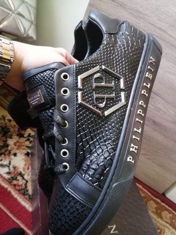 Ekskluzywnej marki PhilIip Plein buty skórzane czern srebro rozm.42,43