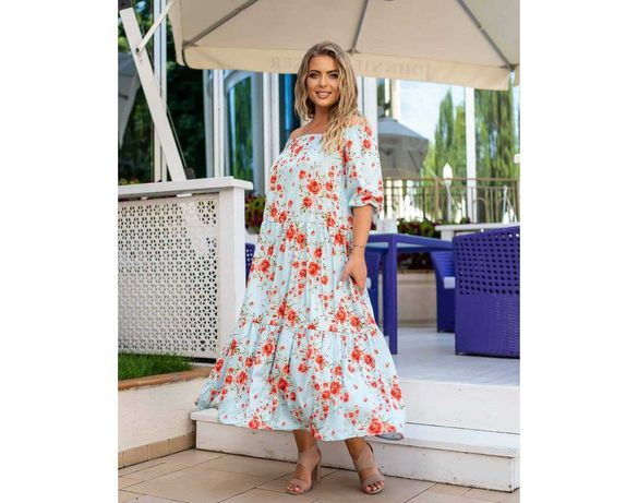 Воздушное платье миди голубое в цветочный принт большой размер новое
