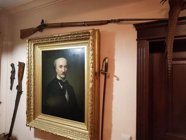 XIX w Portret Hrabiego  Olej na Płótnie  XIX w Śliczna Złota Rama