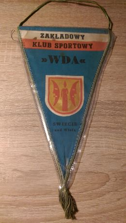 Proporczyk Zakładowego Klubu Sportowego WDA ŚWIECIE n Wisłą 1971 PRL