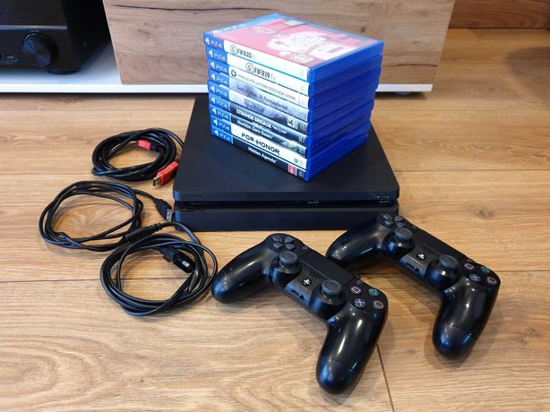 SONY Playstation PS4 1TB Slim + 2 pady + 9 gier