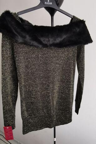 Sweter z futerkiem, nowy