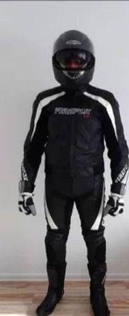 Kompletny kombinezon skórzany motocyklowy plus kask,buty, rękawice itd