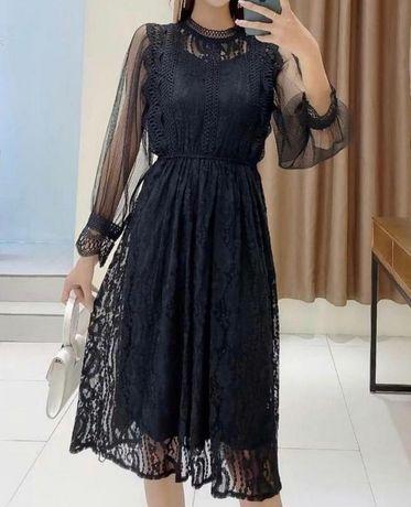Кружевное чёрное платье миди с рукавами нарядное праздничное платье