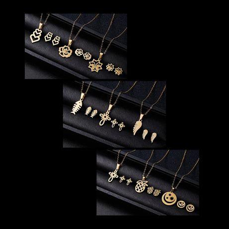Przepiękny Złoty Komplet Biżuterii Łańcuszek Zawieszka Kolczyki