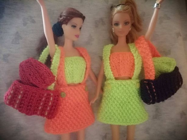Sukienka top torba czapka ubranko dla lalki Barbie rękodzieło włóczki
