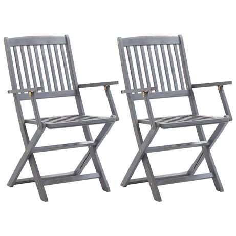 vidaXL Cadeiras de jardim dobráveis 2 pcs madeira acácia maciça 46333
