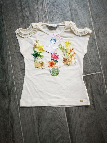 104cm Mayoral nowa bluzka koszulka kremowa w kwiaty na lato