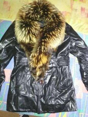 Зимняя кожаная курточка с мехом!