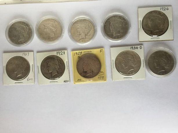 Мирний долар (1921,1922S, 1923S, 1924, 1925, 1926S, 1927,1928S,1934D,