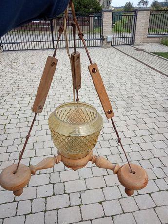Lampa drewniana wisząca PRL