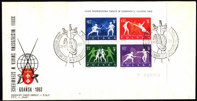 FDC 1963 Fi blok 38 XXVIII Mistrzostwa Świata w szermierce w Gdańsk