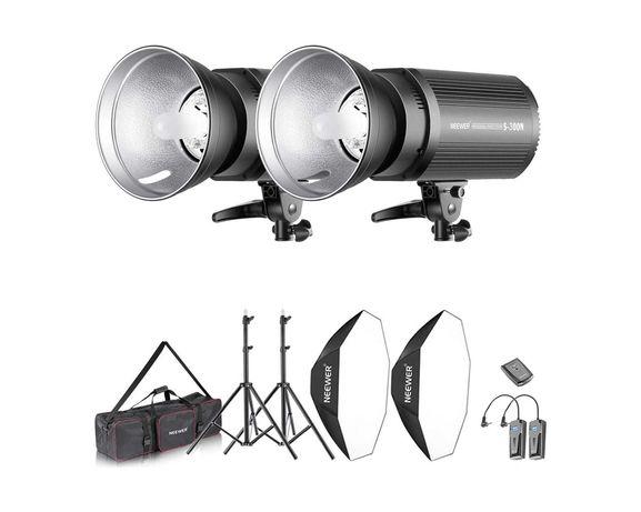 Kit iluminação 600W 2x flashes strobe 300W cada com disparador RT-16