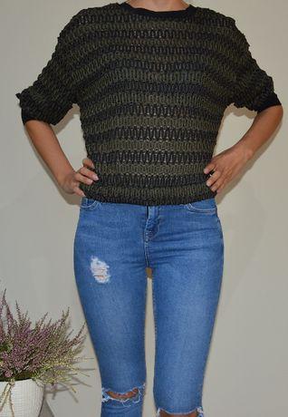 Ciemno zielony pleciony sweter Zara rozmiar S