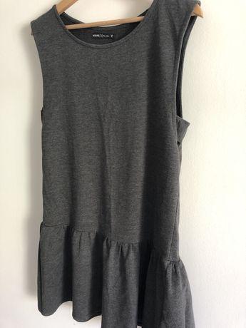 Szara prosta sukienka z falbaną bez rękawów luźna House rozmiar S 36