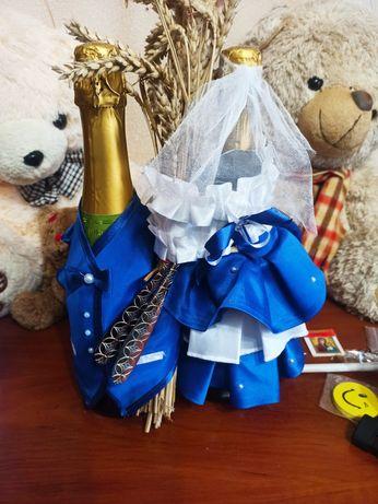Свадебный набор для шампанского костюм корзина