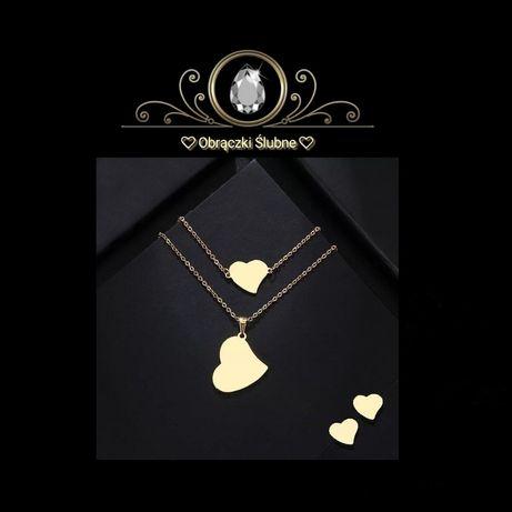 Prześliczny Złoty Komplet Celebrytek HEARTS