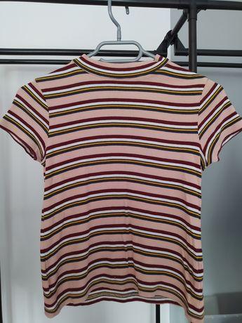 Koszulka z półgolfem w paski