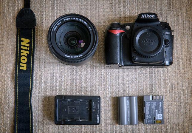 Aparat lustrzanka Nikon D90 + obiektyw Sigma 17-50 2.8 OS + akcesoria