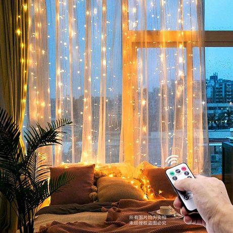 Гірлянда на вікно, гірлянда штора, колір- теплий білий, 3х3 метри, USB
